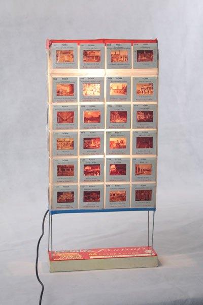 Romadia02. Recyclage boite de diapositives lumineuse vintage, détournement de tous les éléments, objet souvenir, populaire, photos de Rome