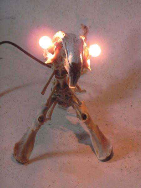Scarapin. Assemblage lumineux d'os de lapin. Sculpture.