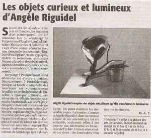 Article la Dépêche d'Evreux: Les objets curieux et lumineux d'Angèle Riguidel