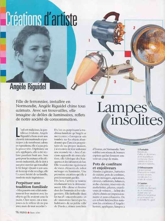 article Prima 2004, créations d'artiste, lampes insolites, Angèle Riguidel