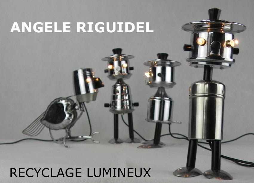 sculptures, personnages par assemblage, café inox et noir