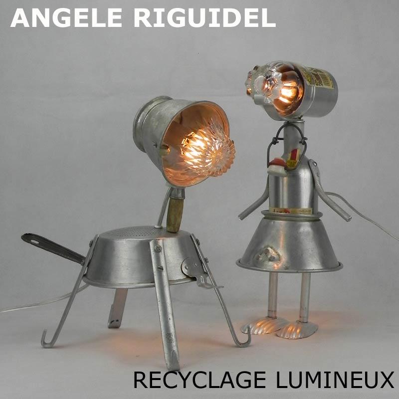 Sculptures personnages en aluminium. Assemblage bouteille, filtre, moule. Lampes