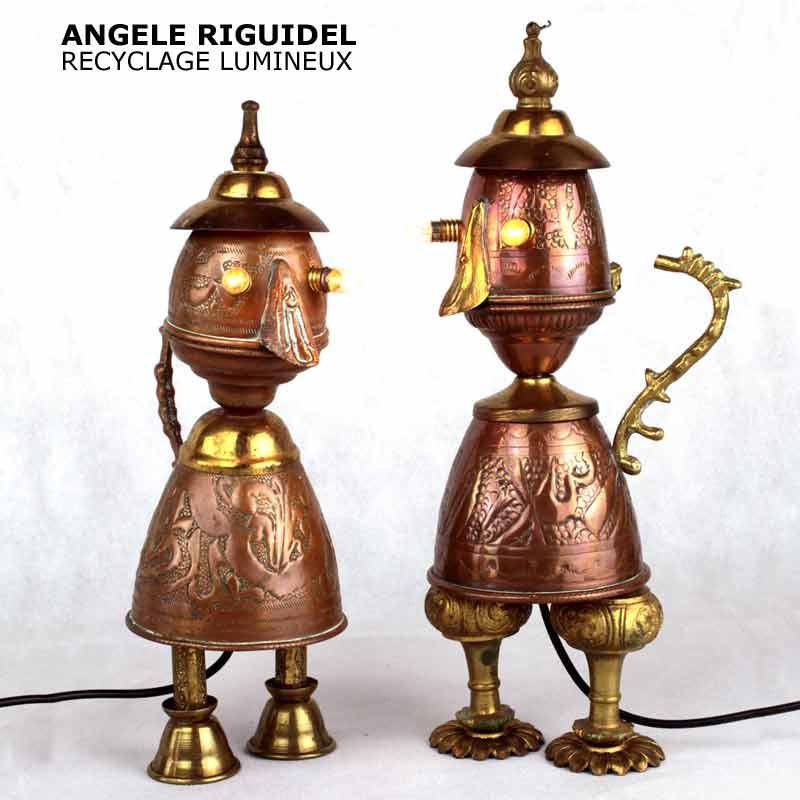 Sculpture personnages, assemblage art de la table en cuivre et laiton