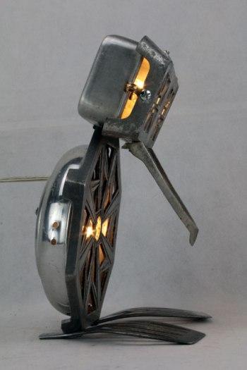 assemblage sculpture aluminium et fonte d'aluminium, oiseau
