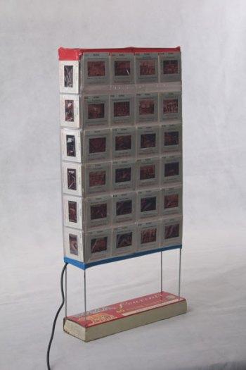 Recyclage boite de diapositives lumineuse vintage, détournement de tous les éléments, objet souvenir, populaire, photos de Rome.