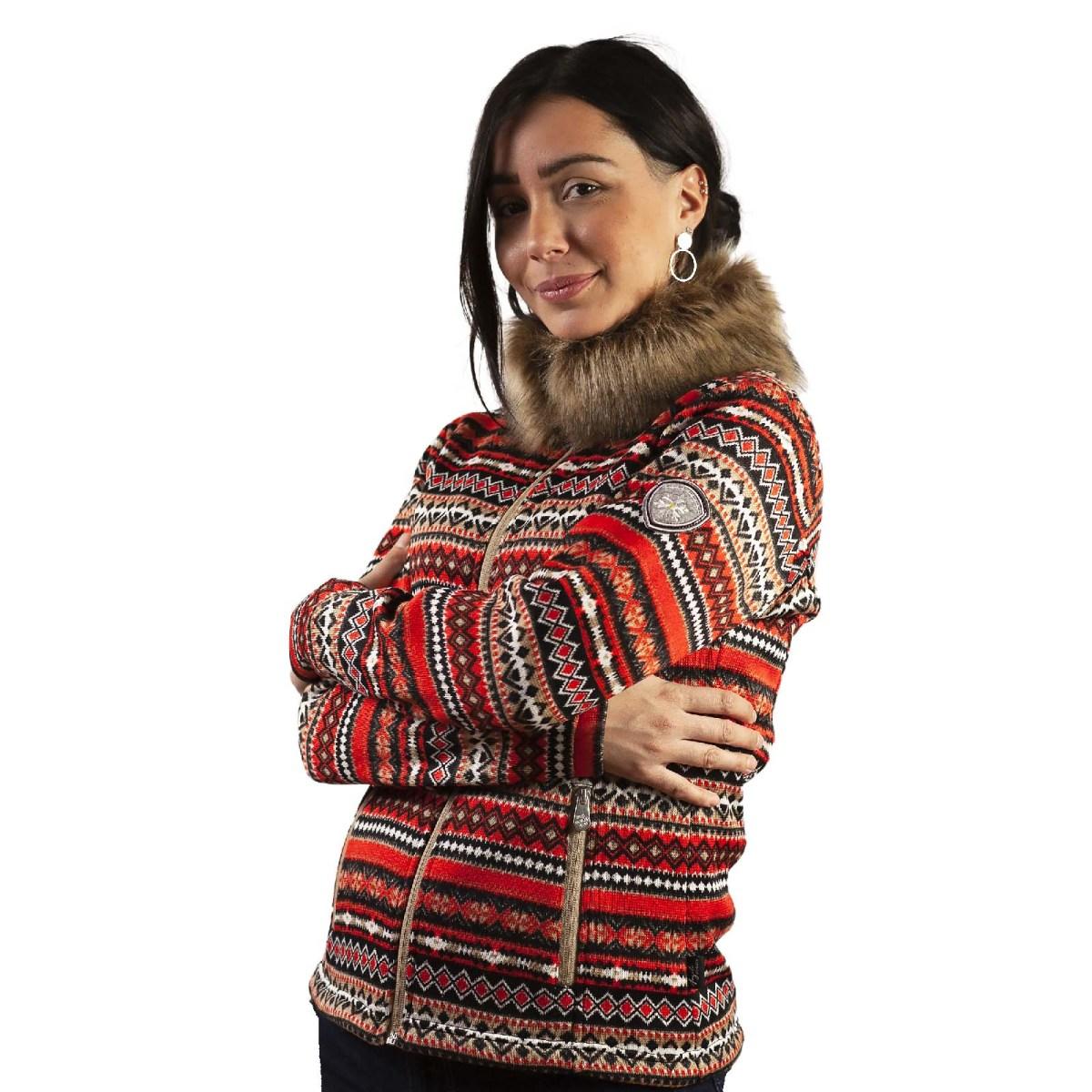 veste polaire femme angele sportswear Cassis fourrure rouge