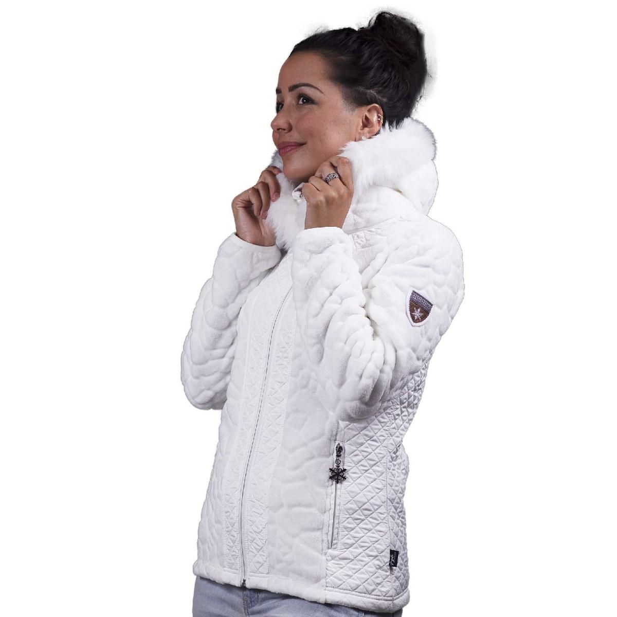 veste polaire femme vienne capuche blanc angele sportswear