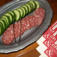 cucumbers and spicy salami appetizer