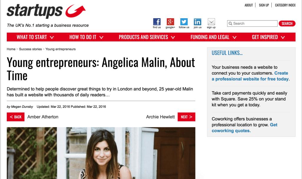 angelica malin press, angelica malin startups.com, angelica malin startups.co.uk, angelica malin profile
