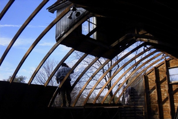 2003, Corn Crib interior, with Cupola at top of frame