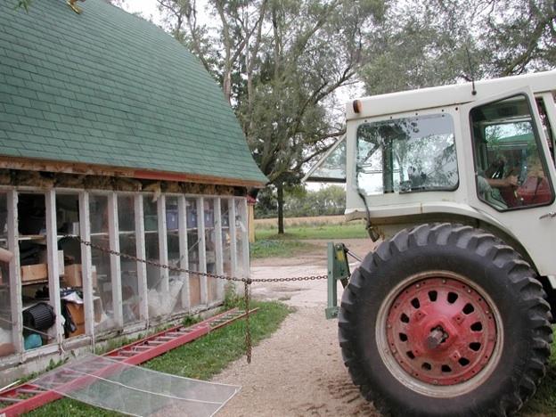 2003, straightening the Corn Crib
