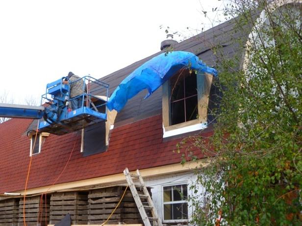 Fall, 2011, making progress on the windy roof