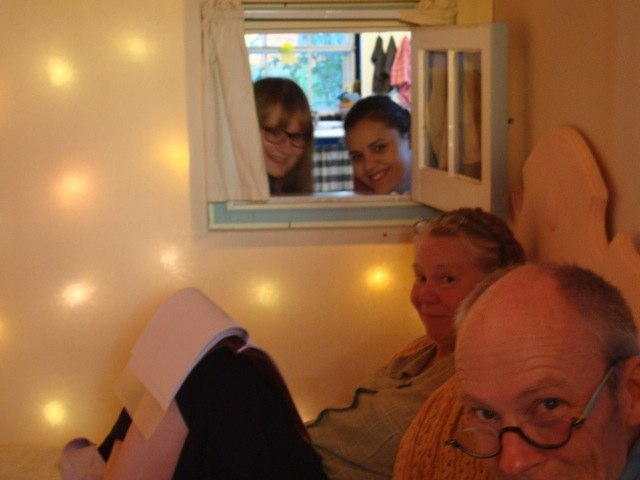 Milla, Haidy, Nancy and Tom lit up by the Feather Room