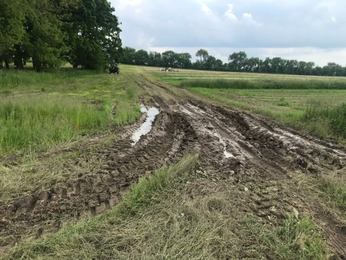 One of several wet spots we had to navigate for weeks to get to our higher fields