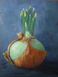 """""""Onion, Week 3"""" 5x7 Acrylic on Panel"""