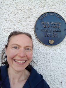 Me stood with Bram Stoker's blue plaque
