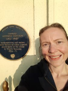 Me with Lewis Carroll's blue plaque