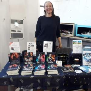 Angeline Trevena at her book stall
