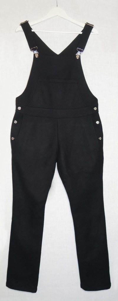 Salopette jambes longues drap de laine noir devant