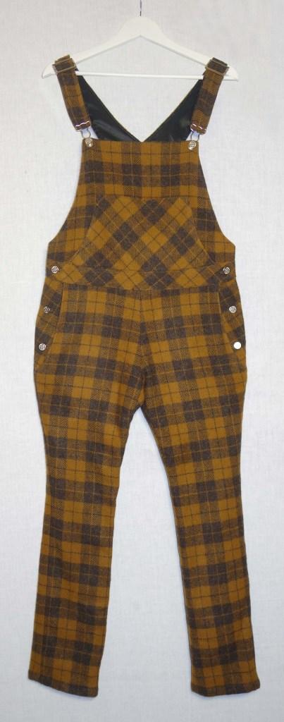 Salopette jambes longues en drap de laine marron à carreaux
