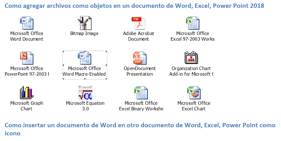 objetos en word,Excel y power point