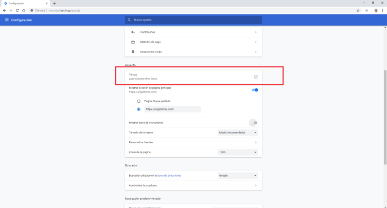 cambiar el fondo o tema de google chrome 7 min
