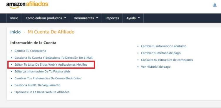 afiliados amazon agregar mas sitios web