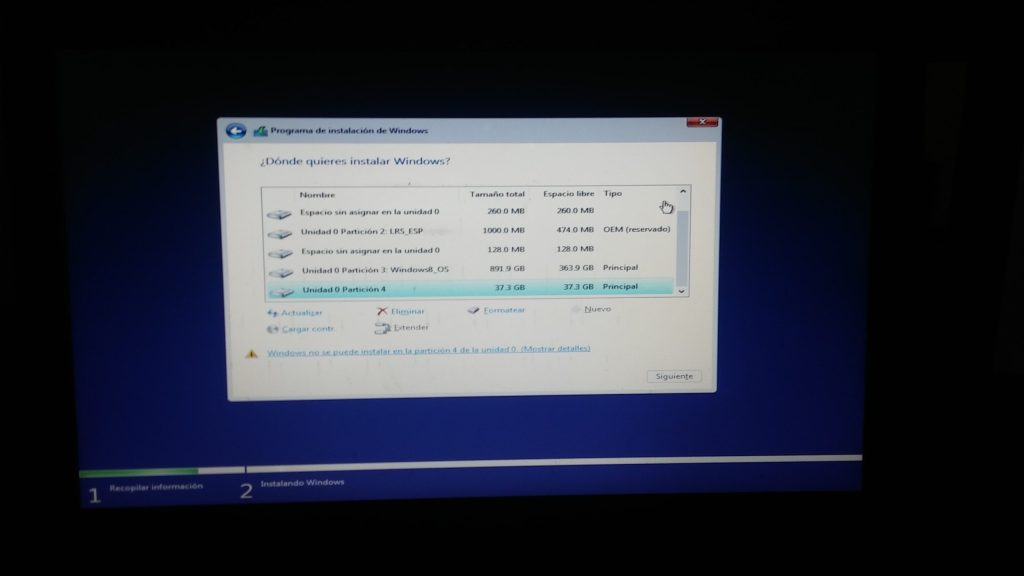 Solucion a error en disco duro estilo de particion GPT