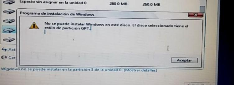 No se puede instalar Windows en este disco. El disco seleccionado tiene el estilo de particion GPT