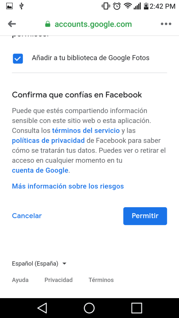 transferir fotos y videos de facebook a google fotos facil paso a paso
