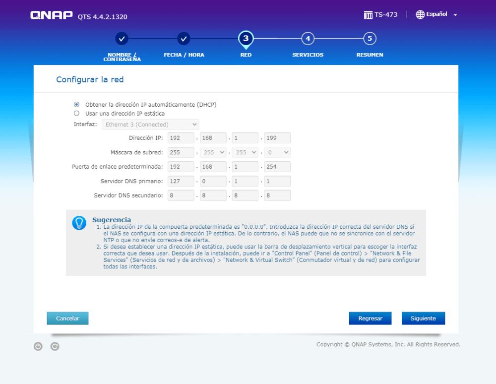 Cambiar o establecer la IP de acceso al Nas 473