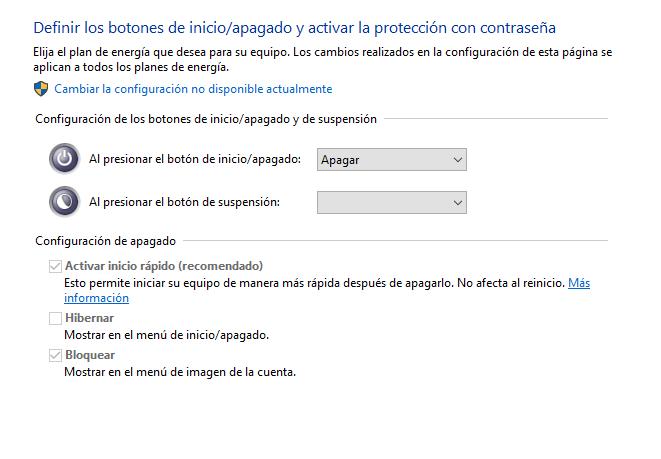 descativar el inicio rapido en windows que inpIde entrar a la BIOS
