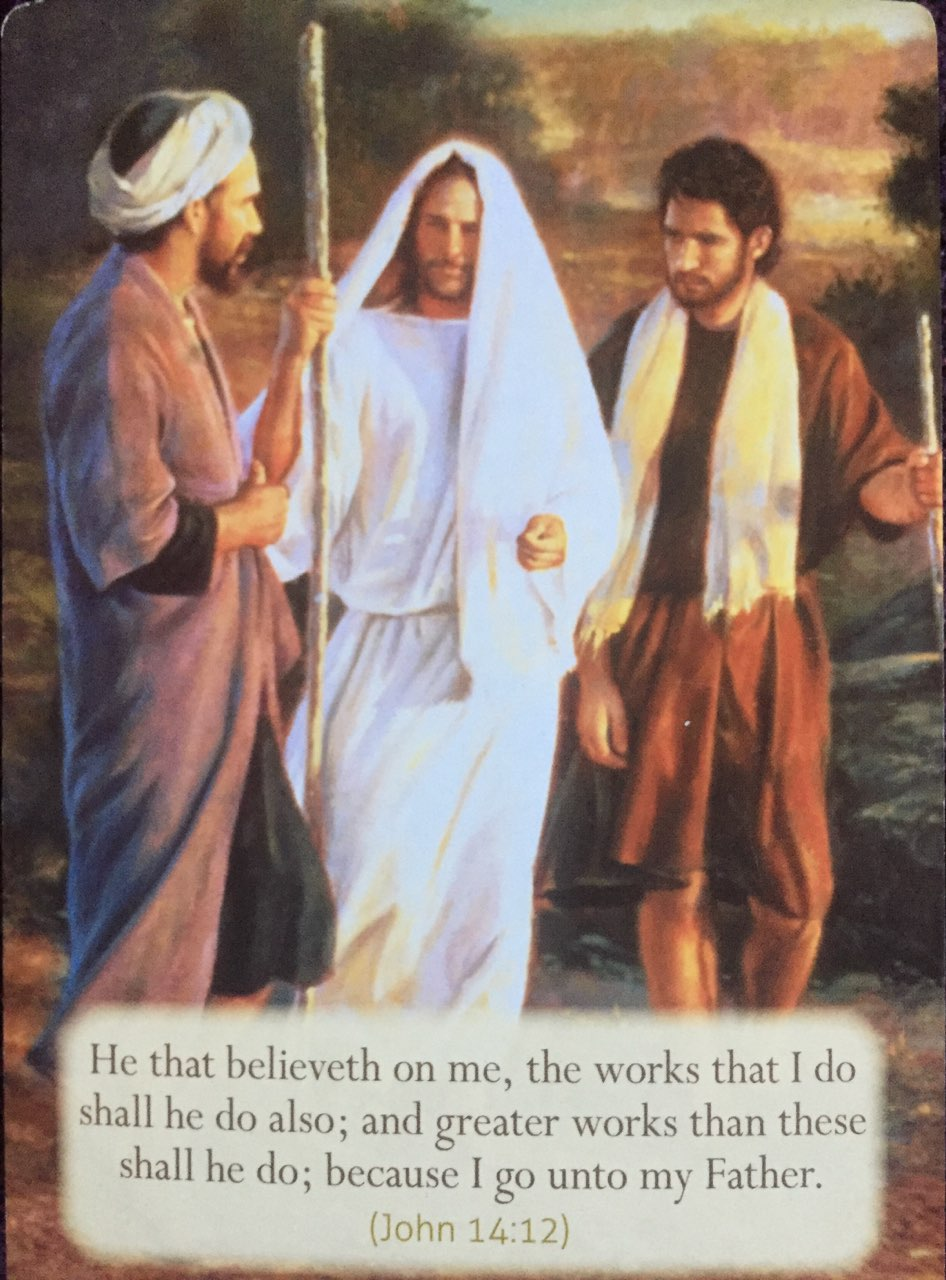 He that believeth on me, the works that I do shall he do also; and greate rworks than these shall he do; because I go unto My Father.
