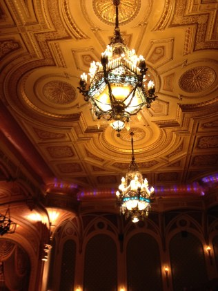 Elaborate ceiling in the theater.