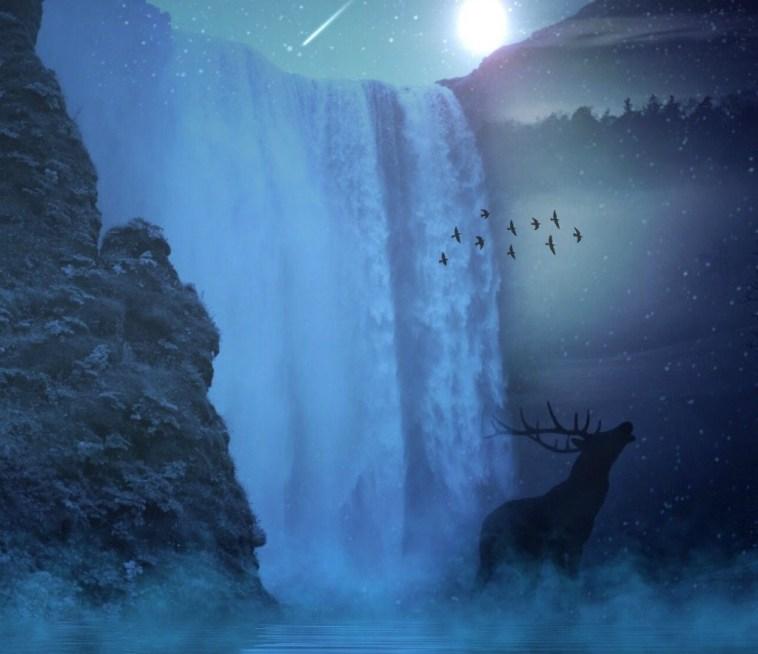 moonlit waterfall