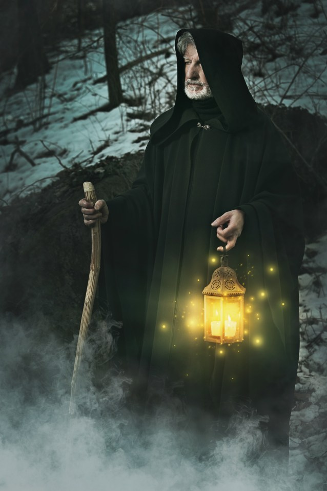 Hermit of the forest with lantern