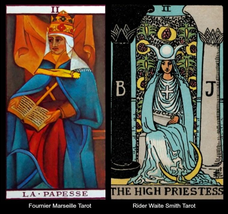 The Tarot High Priestess in the Marseille and Waite Smith Tarot Decks