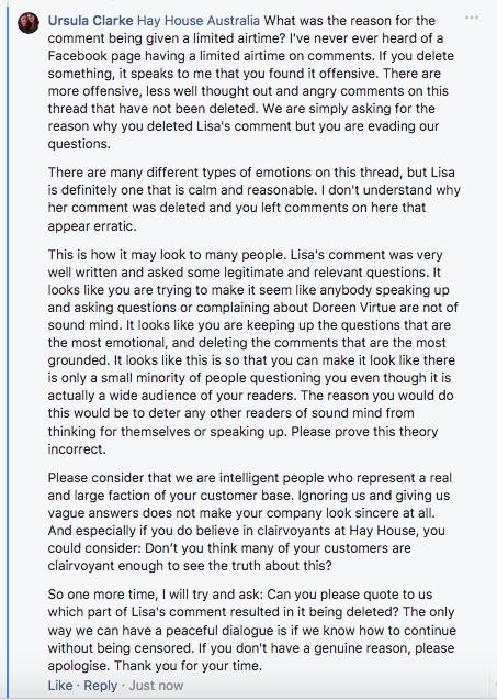 Ursula Clarke asking why Hay House blocked me and deleted my comments
