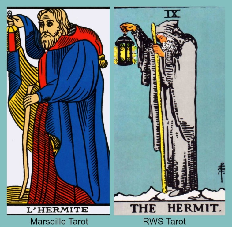 The Tarot Hermit card from the Marseille Tarot and the RWS Tarot