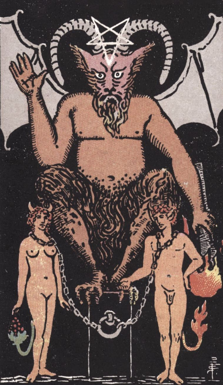 XV The Devil Smith Waite Tarot