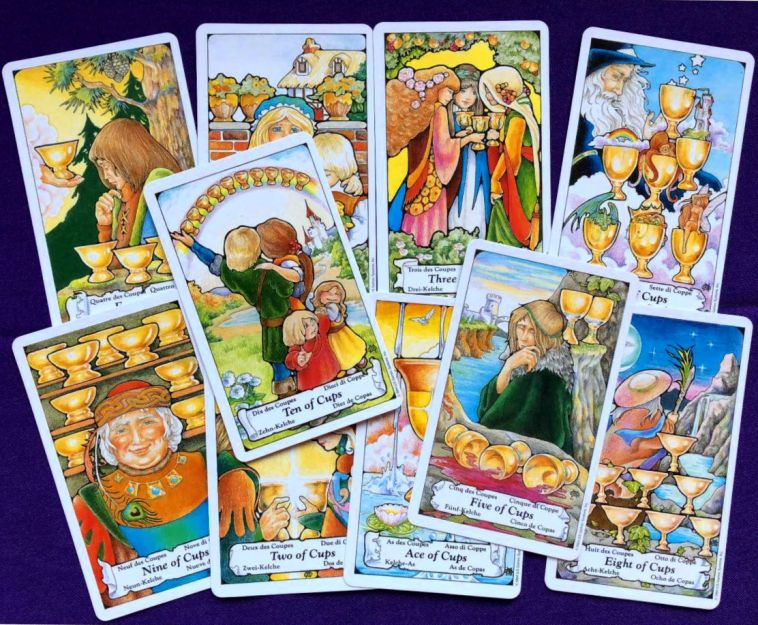 1-10 of cups as situation, challenge, opportunity and action advice