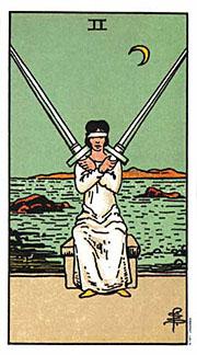 2 of Swords, Moon in Libra
