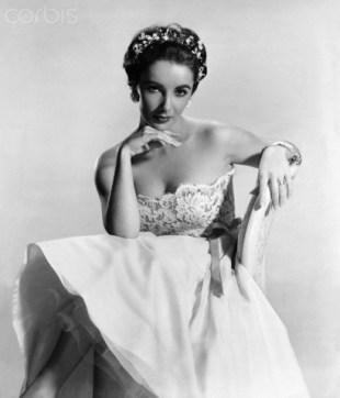 Elizabeth Taylor wearing a wedding gown, 1956. da/from www.corbis.com