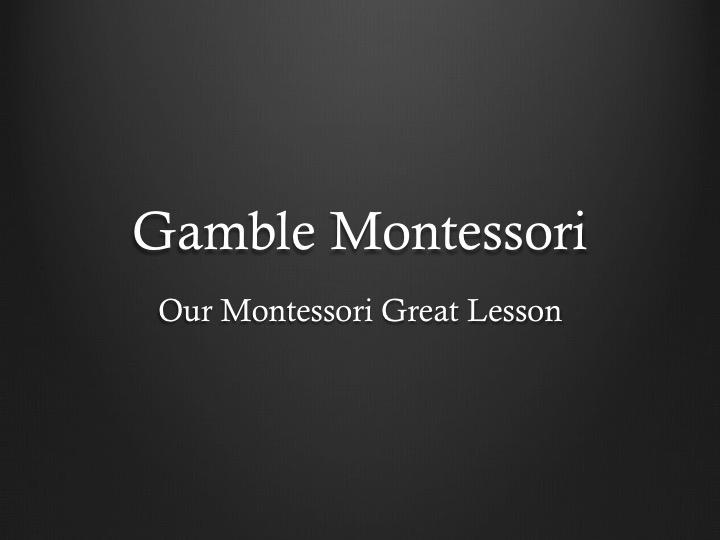 The Gamble Montessori Great Lesson