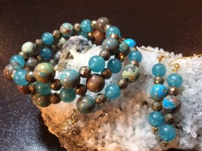 Flower Agate, Blue Quartz & Faceted Pyrite triple-strand wrap bracelet and matching earrings