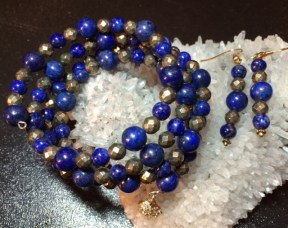 Lapis and Faceted Pyrite triple-strand wrap bracelet and matching earrings