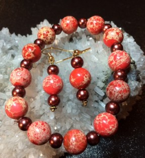 Sea Sediment Imperial Jasper and Glass Pearls stretch bracelet and earrings