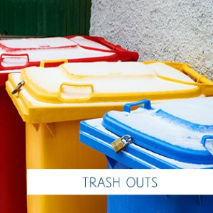 Colorful trash cans on the street outdoors