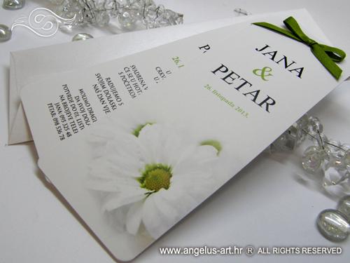 Bijela Pozivnica Za Vjencanje U Obliku Bookmarkera Sa Slikom Cvijeta Daisy Bookmark