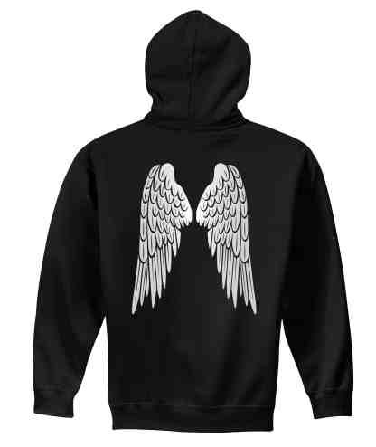 angel wings foundation pullover hoodie back